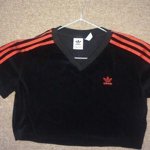 Black Velvet Adidas Crop Top